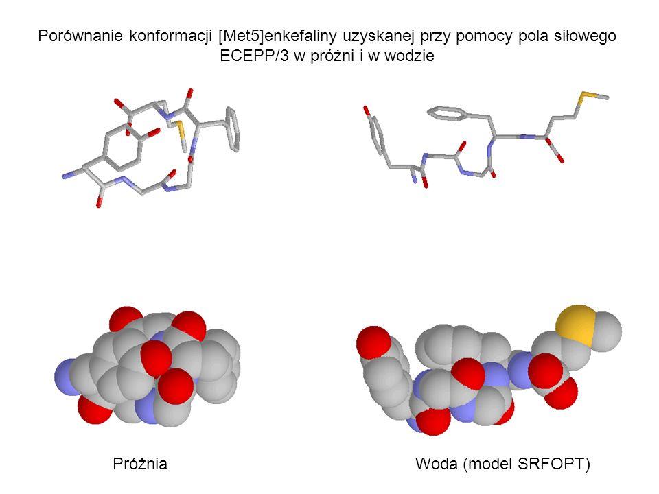 Porównanie konformacji [Met5]enkefaliny uzyskanej przy pomocy pola siłowego ECEPP/3 w próżni i w wodzie